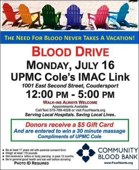 7-16 Blood Drive at UPMC Cole IMAC