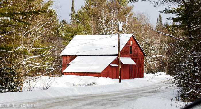 Red barn in the snow in the Adirondacks