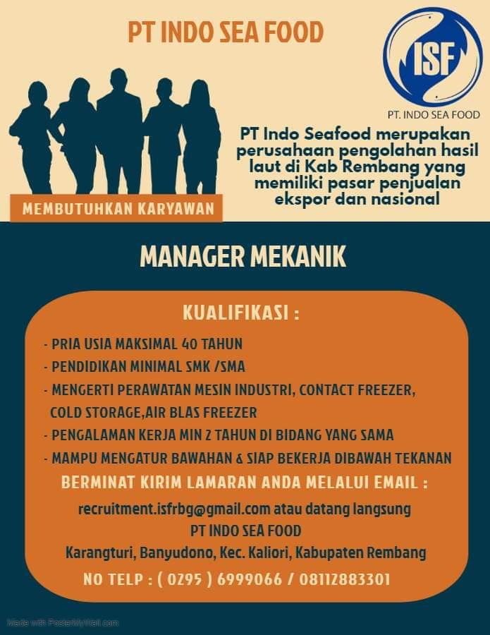 Lowongan Kerja Manager Mekanik Indo Sea Food Rembang