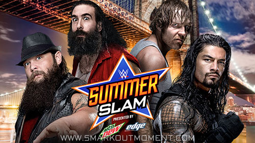 WWE SummerSlam 2015 PPV Wyatt Family vs Reigns Ambrose match
