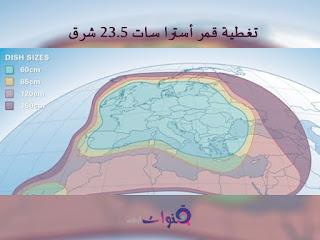 أحجام صحون إستقبال قمر استرا سات حسب الموقع الجغرافي