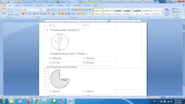 Soal PAS Matematika Kelas 6A kurikulum 2013 Revisi Terbaru dan Jawaban