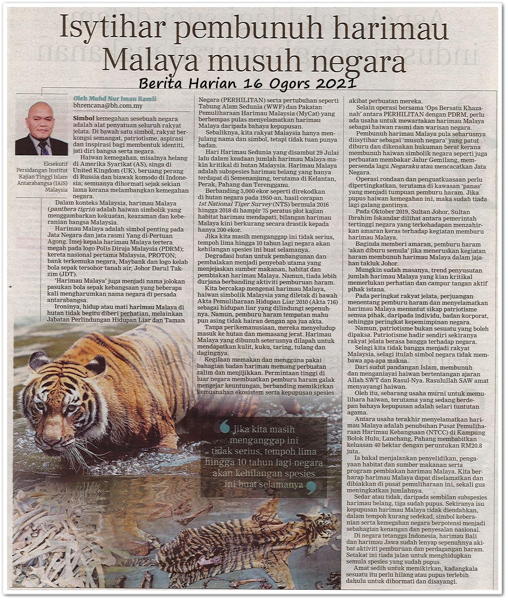 Isytihar pembunuh harimau Malaya musuh negara - Keratan akhbar Berita Harian 16 Ogos 2021