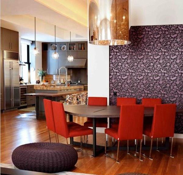 Ide Ruang Makan Kreatif Berwarna Ungu