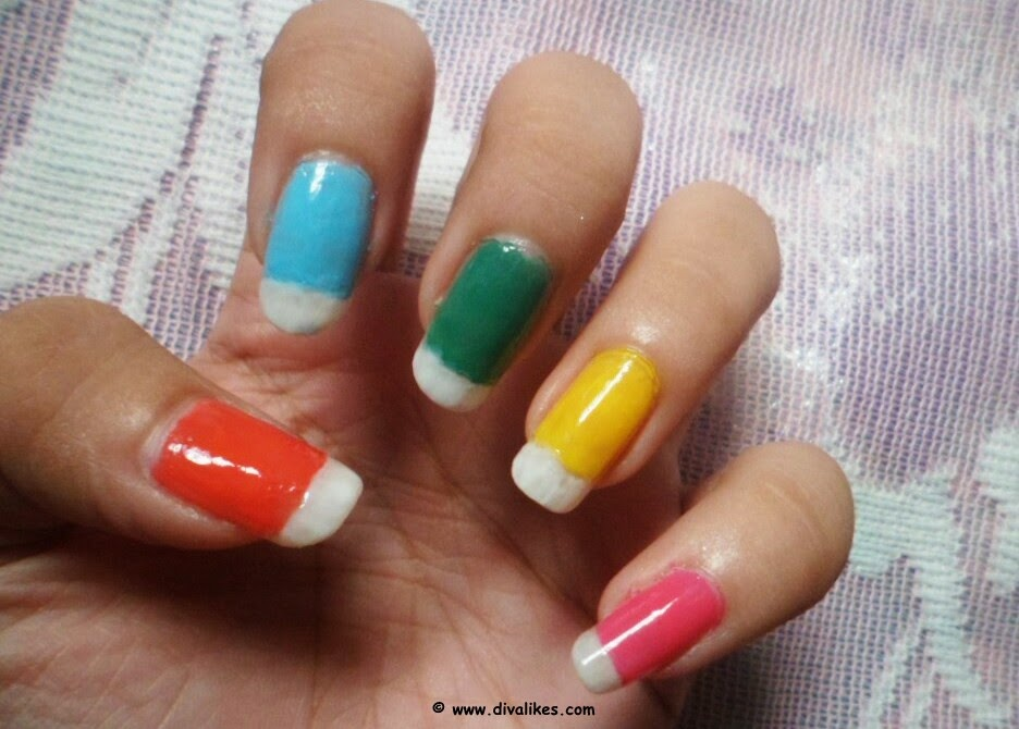 4ea430e8d4ce Take your nail art brush or toothpick and dip it in black nail polish.  Start making criss-cross patterns on the colored part of the nail as shown.