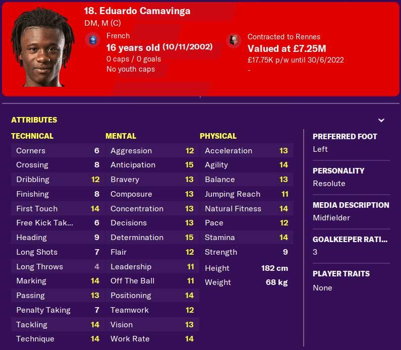 Eduardo Camavinga Football Manager 2021