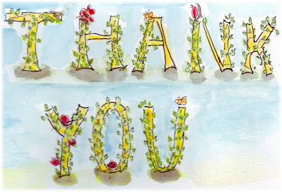 Thankyou in handlettered watercolor text with leaves-free graphic to download
