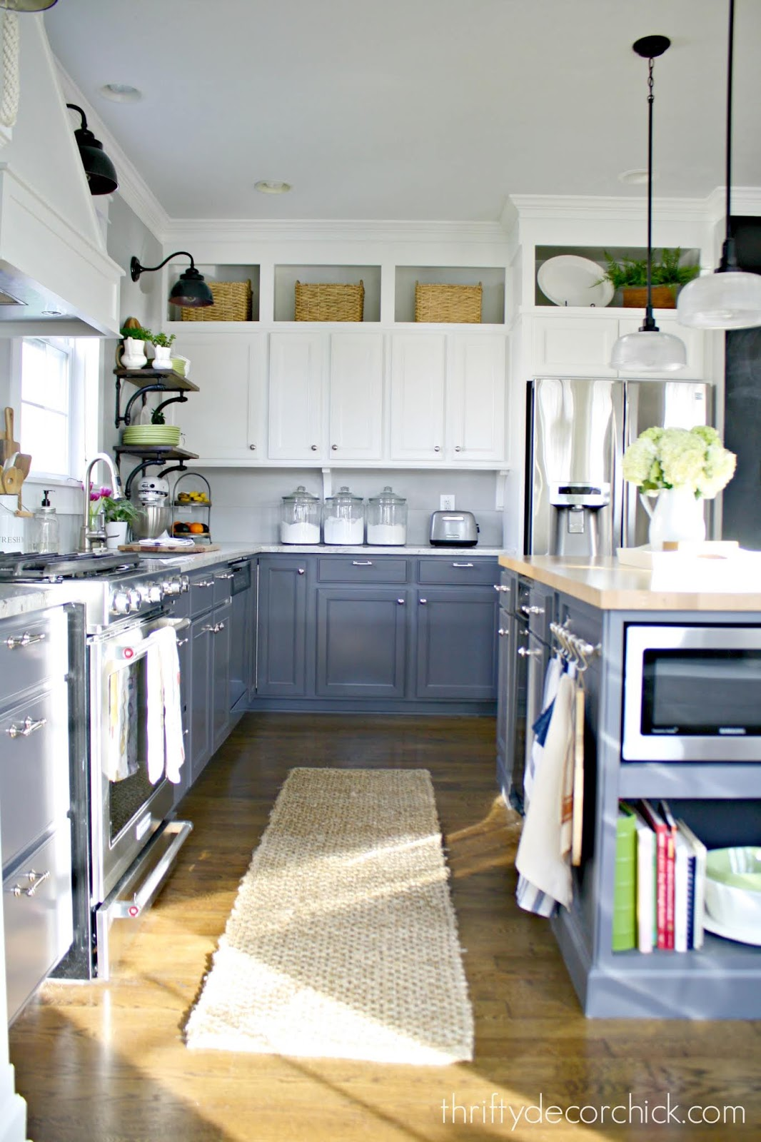 Dark gray lower cabinets white uppers