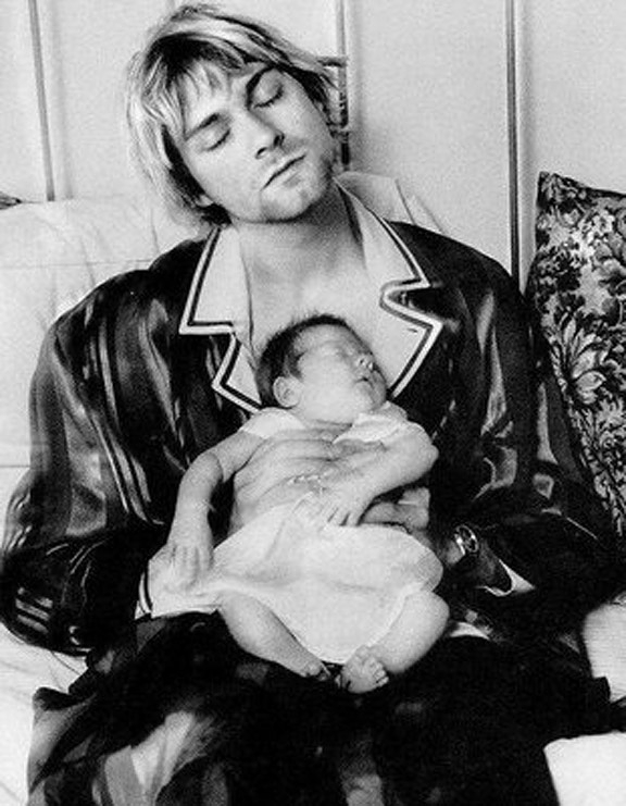 Old Photos Of Kurt Cobain With His Baby Daughter Vintage