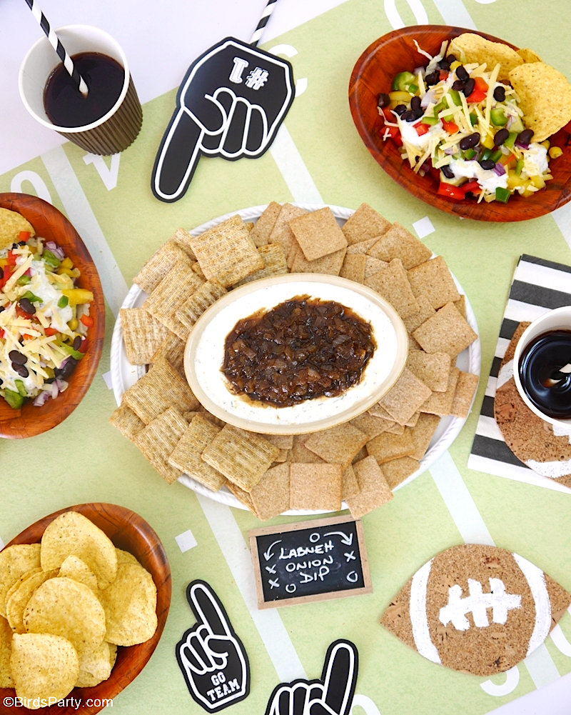 Game Day Favorite Recipes, DIY Decor & FREE Football Printables - appetizers for the super bowl or football tailgating and DIY decor ideas! by BirdsParty.com @birdsparty #gameday #recipes #superbowl #footballparty #freeprintables #diyfootballdecor #appetizers #tailgating