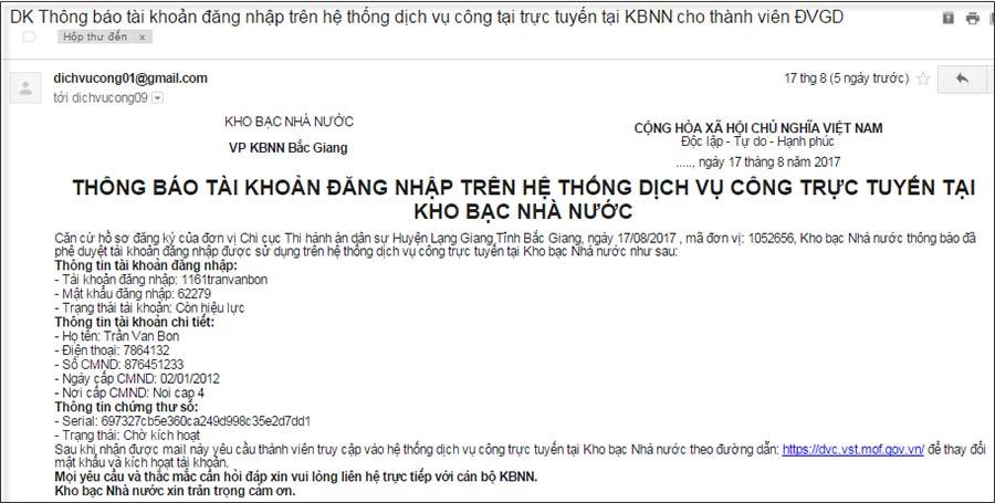 Hình 39 - Mẫu email thông báo tài khoản đăng nhập DVCTT của KBNN