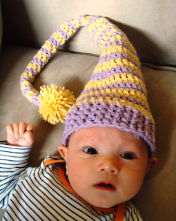 crocheted baby elf hat