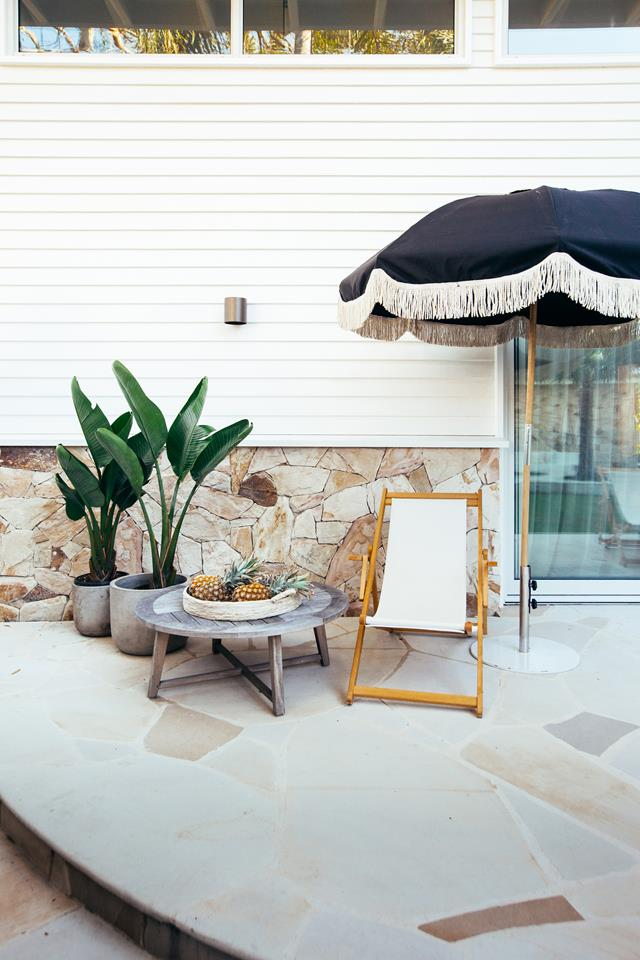 Blue Lagoon Build stone patio with lounger