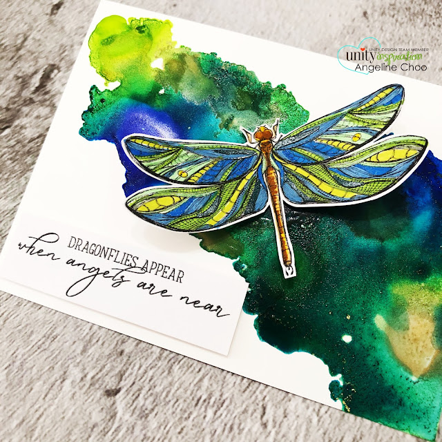 ScrappyScrappy: Unity Stamp with Graciellie Designs & Phyllis Harris - Hope and Strength  #scrappyscrappy #unitystampco #gracielliedesign #phyllisharris #cardmaking #card #handmadecard #papercraft #rubberstamp #hopeandstrength #dragonfly #alcoholinks #angels #spectrumnoir #sparklemarkers #glittermarkers #bibleverse #bibleart #faithart