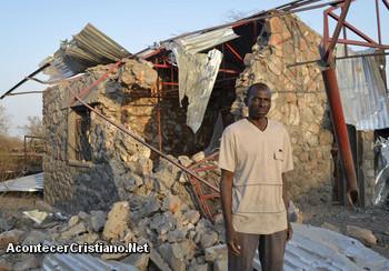 Casa destruida de un cristiano en Sudán