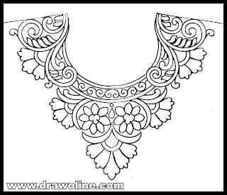 Embroidery designs pencil sketches for salwar kameez neckline designs.kurti neck drawing.neck designs sketch