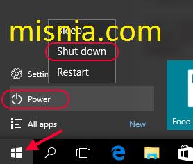 shutdown from start menu