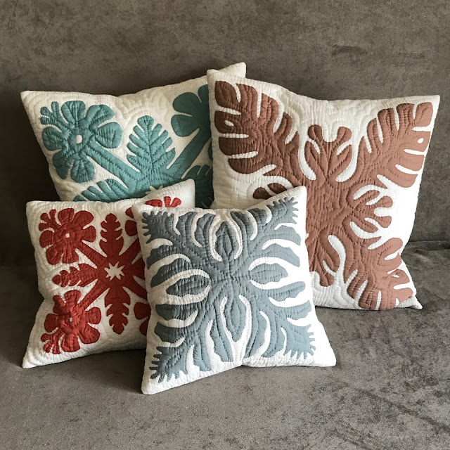 Pillows with traditional Hawaiian quilting