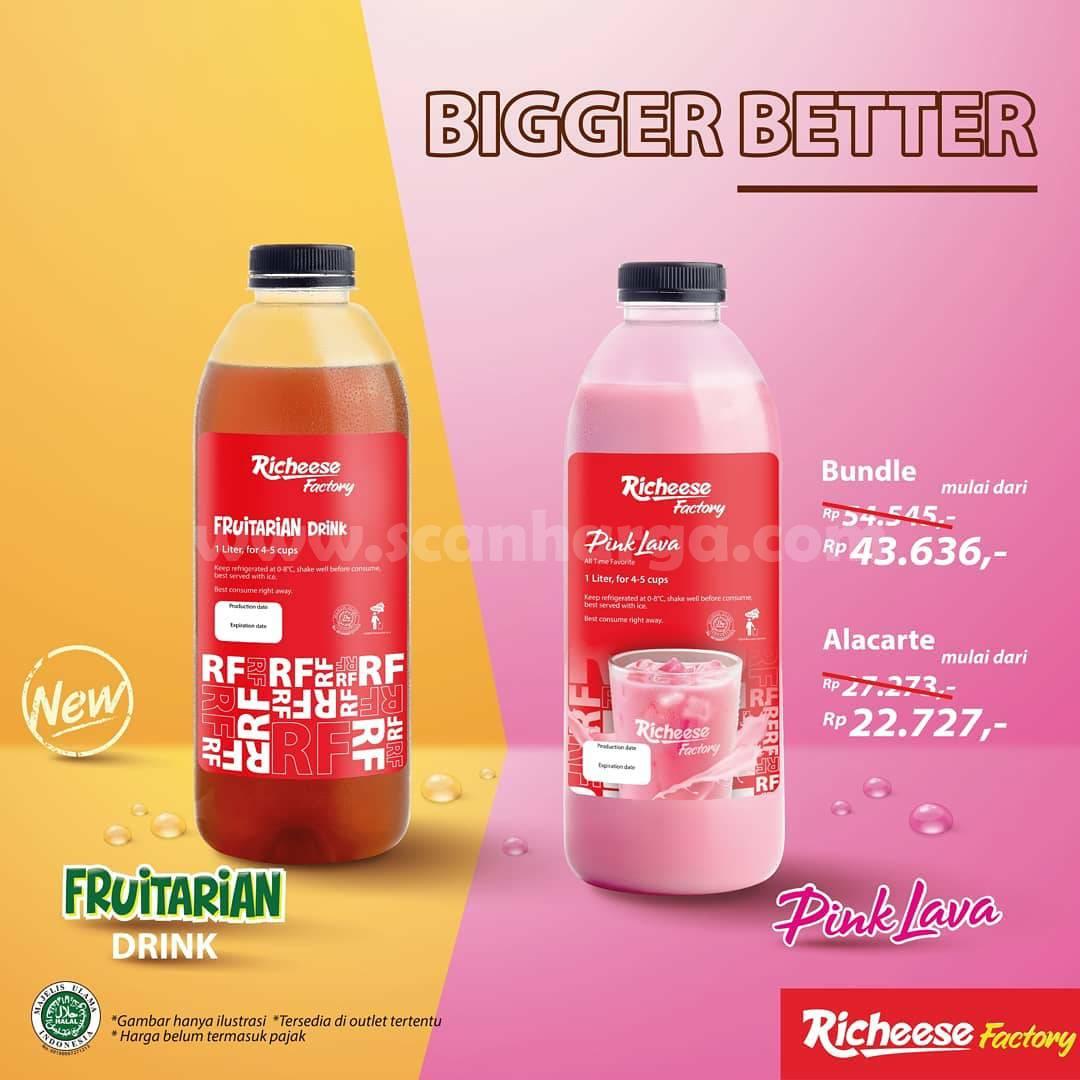 Richeese Factory Promo Pink Lava & Fruitarian Tea 1 Liter Mulai dari Rp 22.727*