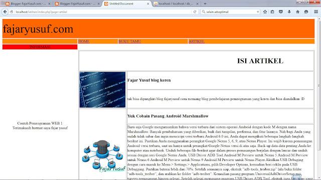 Contoh18 ( Halaman Index Pengunjung) : Webpro