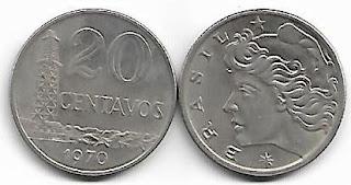 Moeda de 20 centavos, 1970