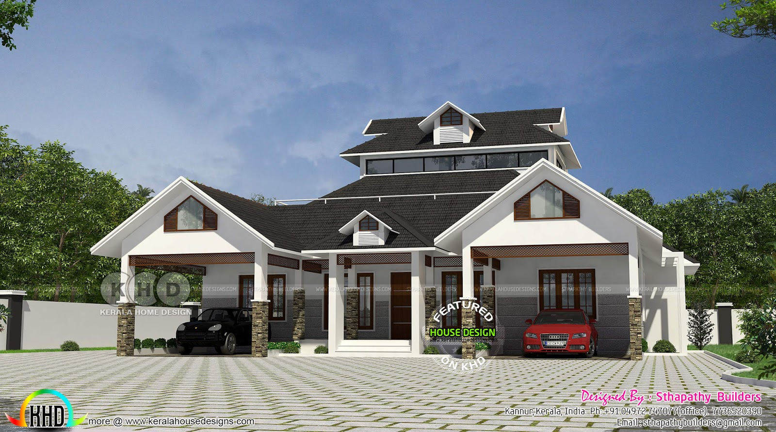 Single Floor Sloped Roof Home 2518 Sq Ft Kerala Home Design And Floor Plans 8000 Houses