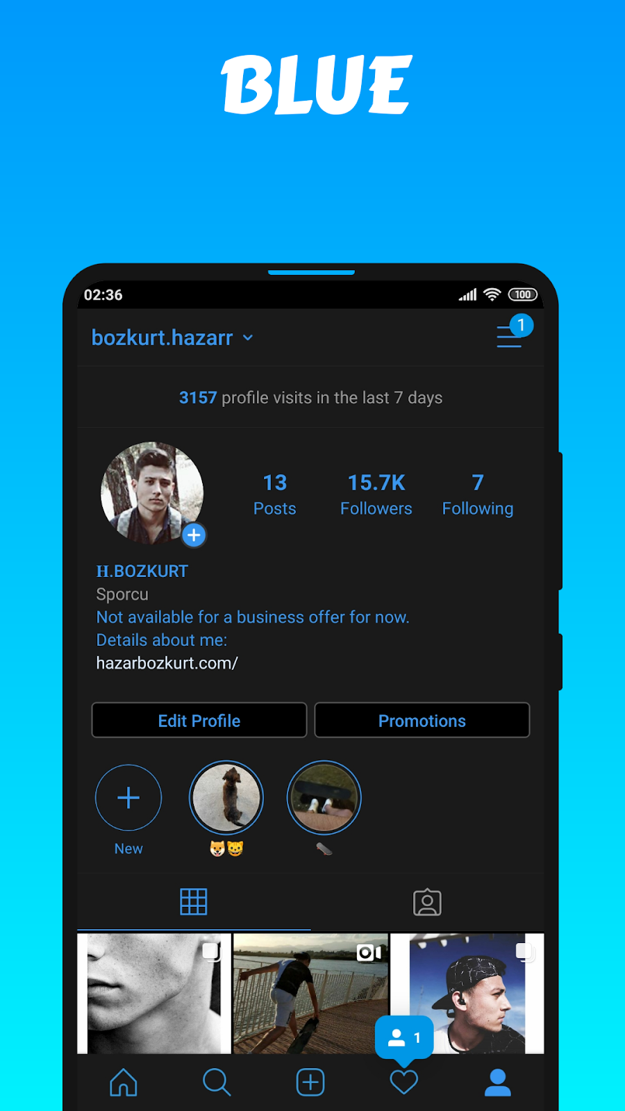 Dark with Blue Theme