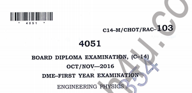 SBTET DIPLOMA ENGINEERING PHYSICS PREVIOUS QUESTION PAPER C14 OCT/NOV 2016