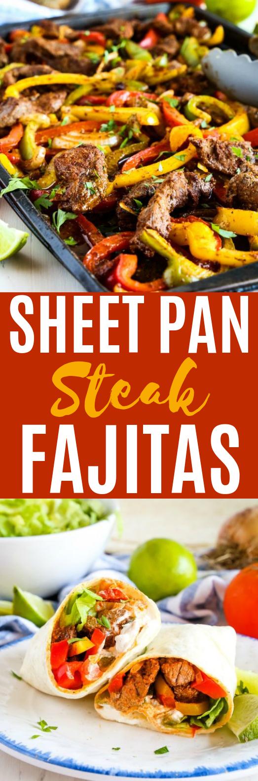Easy Sheet Pan Steak Fajitas #dinner #steak