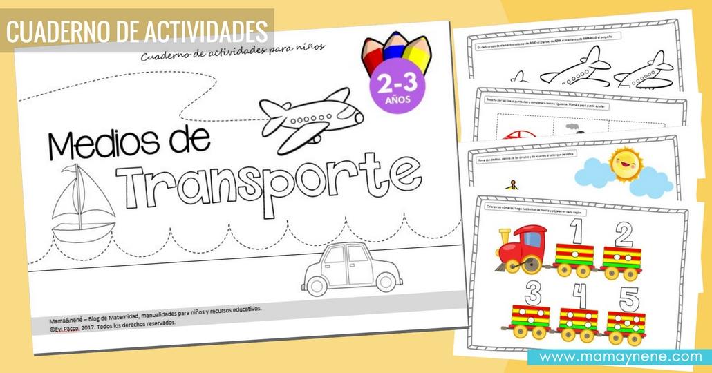 Medios de transporte: Cuaderno de Actividades para niños