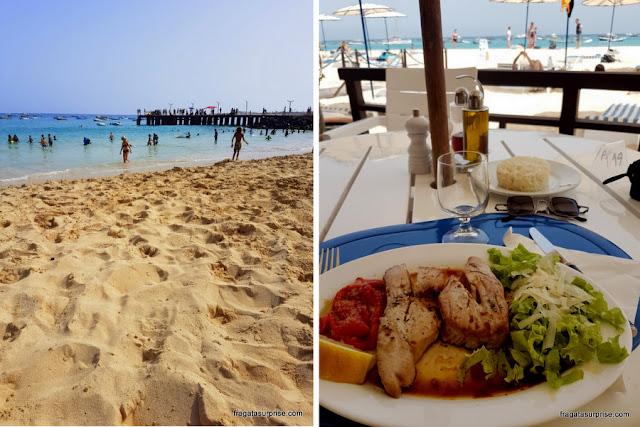 Praia de Santa Maria, na Ilha do Sal, e um prato de atum