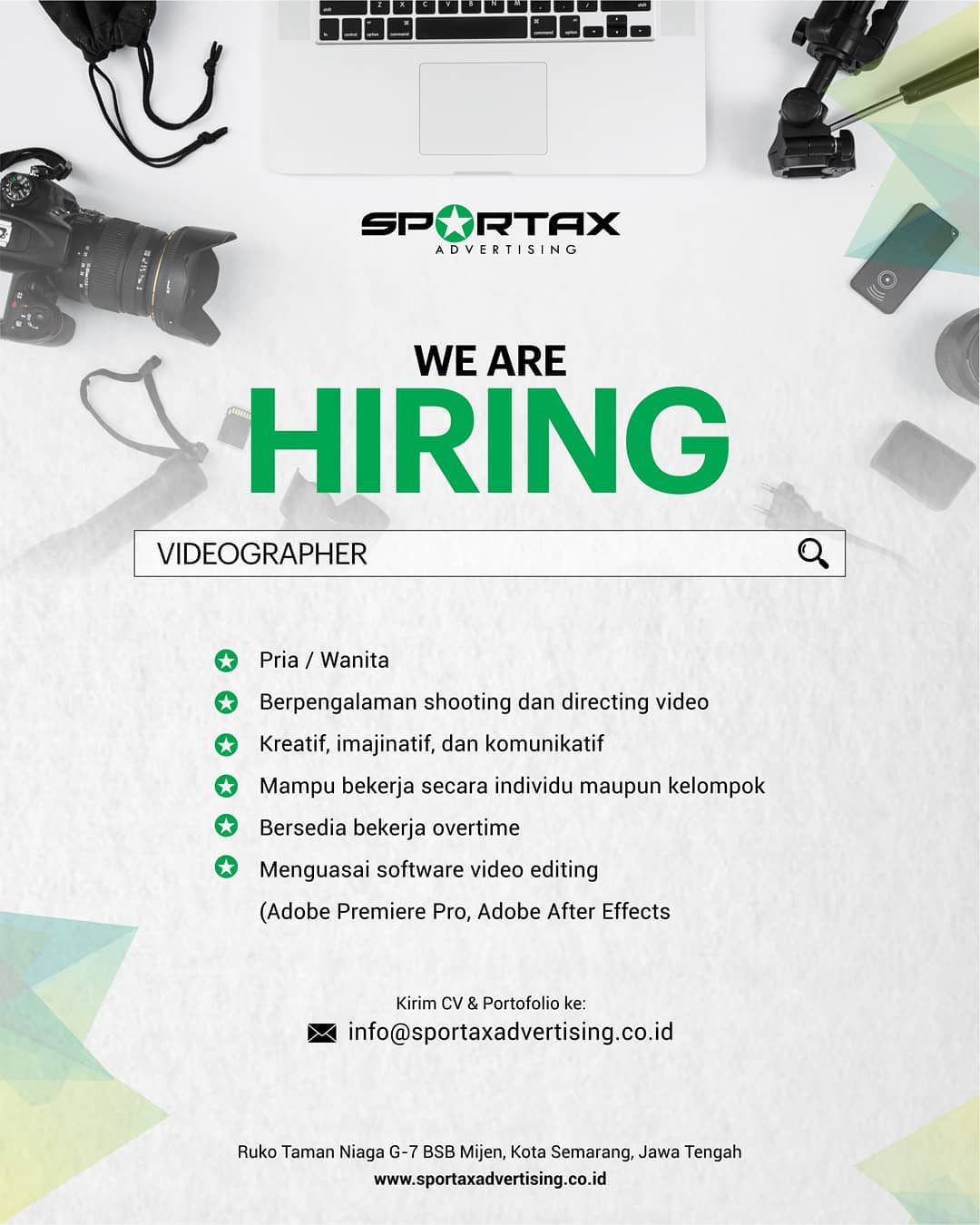 Lowongan Sportax Advertising sedang mencari kandidat terbaik untuk mengisi posisi: 1. Graphic Designer 2. Videographer