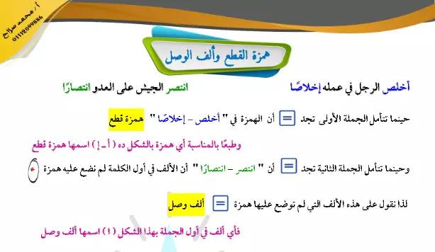 مذكرة اللغة العربية منهج الصف الاول الاعدادي الترم الاول