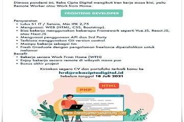 Lowongan Kerja Front End Developer Reka Cipta Digital Bandung