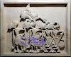 Ukiran relief wayang pendawa lima dari batu alam jogja