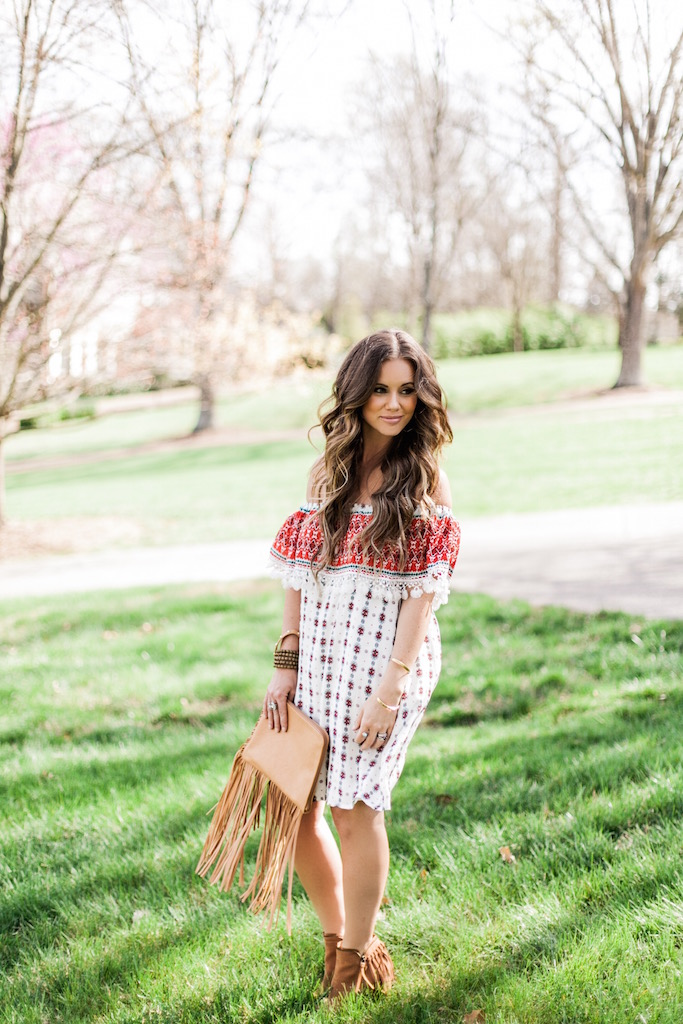 KBStyled: bohemian dress, off the shoulder, festival fashion