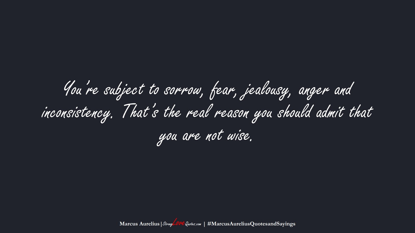 You're subject to sorrow, fear, jealousy, anger and inconsistency. That's the real reason you should admit that you are not wise. (Marcus Aurelius);  #MarcusAureliusQuotesandSayings