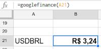googlefinance converte dólar em reais!