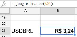 Com a fórmula googlefinance, as planilhas do Google converte dólar em reais!