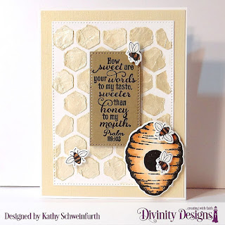 Stamp/Die Duos: Bee-lieve Custom Dies: A2 Landscape Card Base with Layer, Matting Rectangle, Quilted Honeycomb Background (used as a stencil), Pierced Rectangles