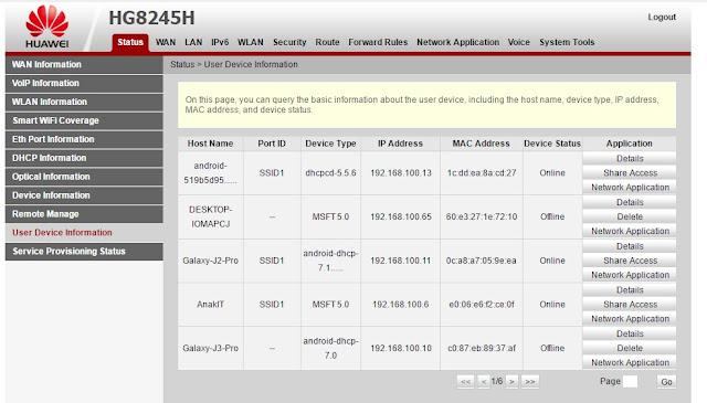cara blokir pengguna wifi indihome huawei hg8245h dan cara blokir pengguna wifi indihome ZTE F609