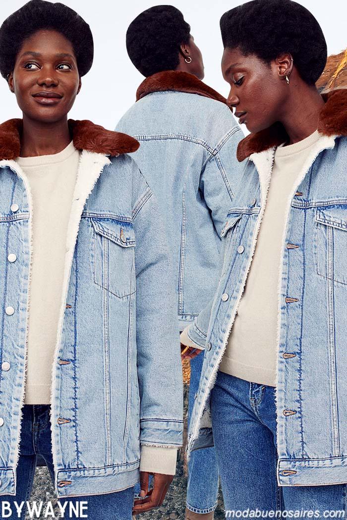 Camperas de jeans con cuello de piel sintetica otoño invierno 2021