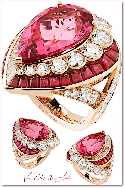 Van Cleefs & Arpels Goutte de spinelle ring ~ indian pink baguette-cut rubies, diamonds wrapping around a 14.34ct spinel from the Seven Seas Red Sea collection #brilliantluxury