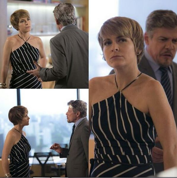 Helô (Claudia Abreu) com look listrado A lei do Amor