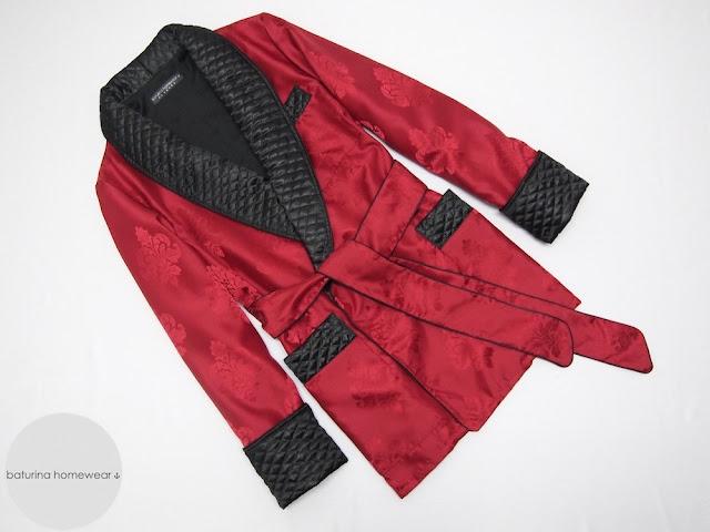 Mens smoking jacket robe quilted silk black red luxury gentlemans dressing gown cotton