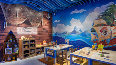 3D false ceiling design of gypsum board for kids room themes