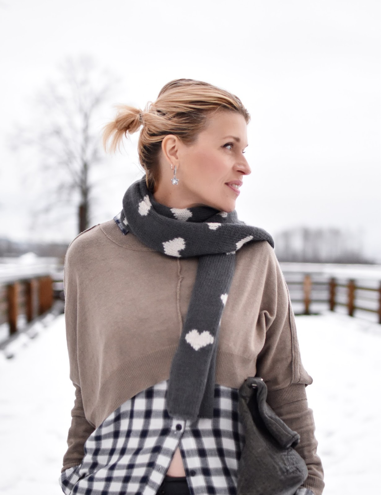 Monika Faulkner outfit inspiration - plaid flannel shirt, shrug-style sweater, heart-patterned scarf, slate blue satchel
