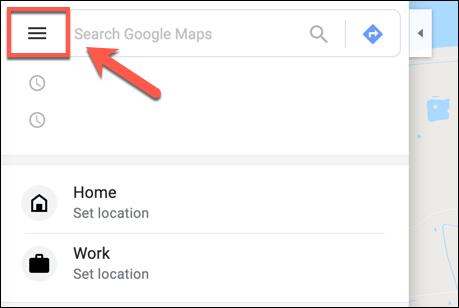 انقر فوق رمز قائمة هامبورجر في خرائط Google