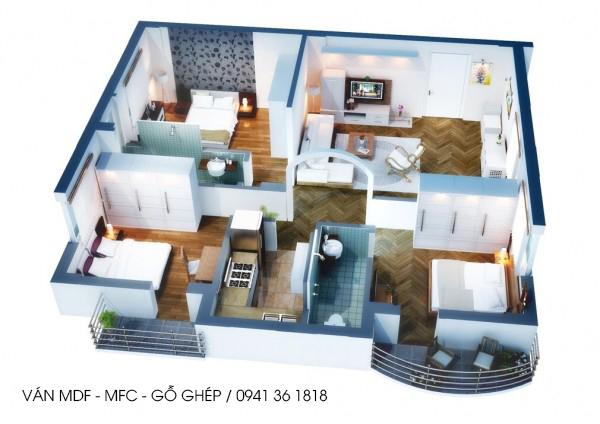 ván mdf  dành cho nội thất căn hộ 3pn