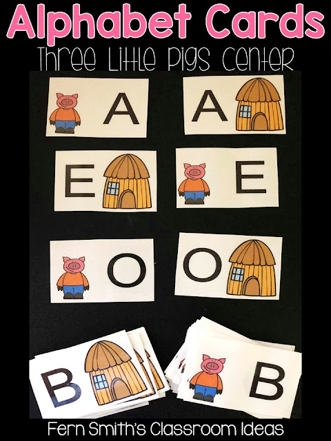 Alphabet Matching Centers With a Cute Fairy Tale or Classic Story Theme - Perfect Task Cards for a variety of games, concentration, match game, go fish, gin rummy, scoot, read the room, small group, even perfect for assessments from Fern Smith's Classroom Ideas.